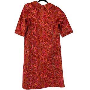 Mod vintage paisley red and orange dress medium